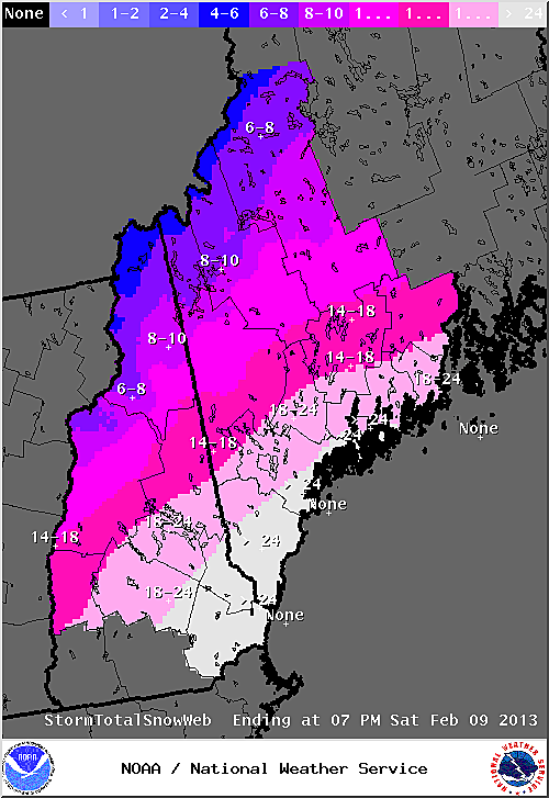 Latest Maine snowfall totals